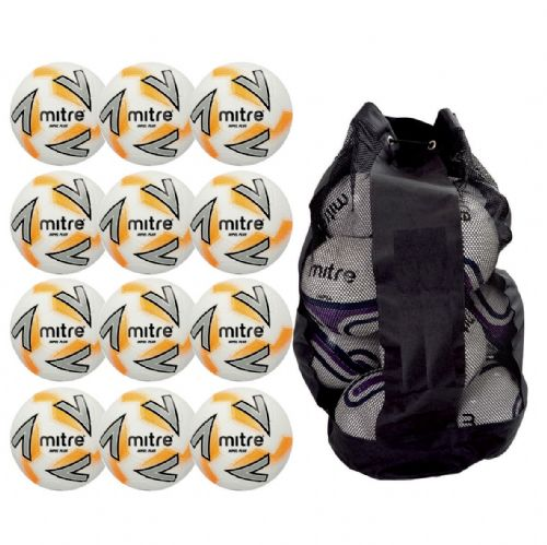 Mitre Impel Plus Training Ball 12 Balls and Bag - White/Silver/Orange